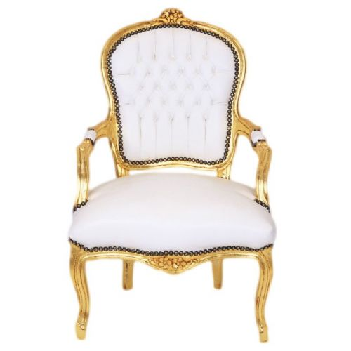 CHAIRS FRANCE BAROQUE STYLE LADY CHAIR WITH ARMRESTS GOLD / WHITE #55F3